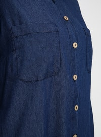 Blue - Unlined - Point Collar - Cotton - Denim - Plus Size Tunic