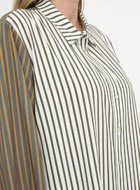 Green - Stripe - Point Collar - Plus Size Tunic