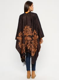 Brown - Mustard - Multi - Unlined - Acrylic - Poncho