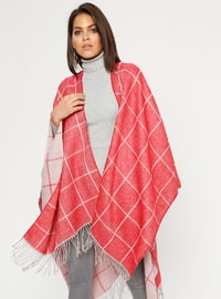 Red - Multi - Unlined - Acrylic - Poncho