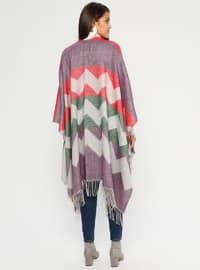 Red - Purple - Multi - Unlined - Acrylic - Poncho