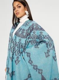 Turquoise - Multi - Unlined - Acrylic - Poncho