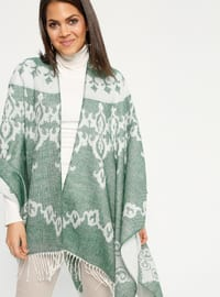 Green - Multi - Unlined - Acrylic - Poncho
