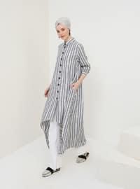 Black - Stripe - Point Collar - Cotton - Tunic