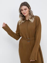 Brown - Unlined - Point Collar - Viscose - Plus Size Dress