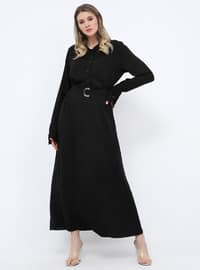 Black - Unlined - Point Collar - Viscose - Plus Size Dress