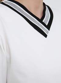 White - Ecru - V neck Collar - Cotton - Plus Size Tunic
