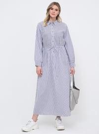 White - Navy Blue - Stripe - Unlined - Point Collar - Cotton - Plus Size Dress