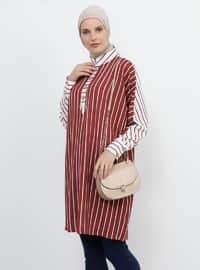 Maroon - Stripe - Point Collar - Tunic