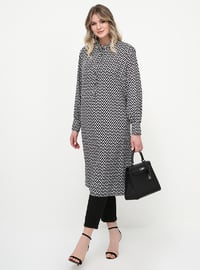 Black - White - Stripe - Plus Size Tunic