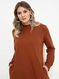 Beige - Tan - Polo neck - Cotton - Plus Size Tunic