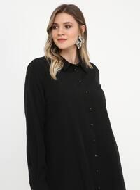 Black - Point Collar - Cotton - Plus Size Tunic