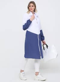 White - Indigo - Unlined - Cotton - Plus Size Coat
