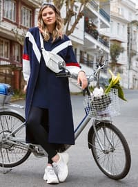 Navy Blue - Unlined - Cotton - Plus Size Coat