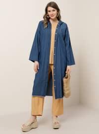 Blue - Unlined - Button Collar - Cotton - Denim - Plus Size Coat