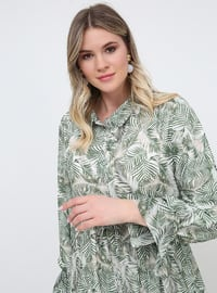Multi - Multi - Fully Lined - Point Collar - Plus Size Dress