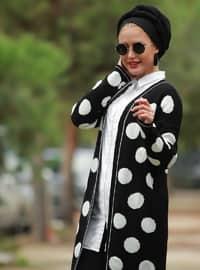 Black - Polka Dot - V neck Collar - Cardigan