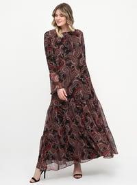 Siyah - Şal - Astarlı kumaş - Yuvarlak yakalı - Büyük beden elbise