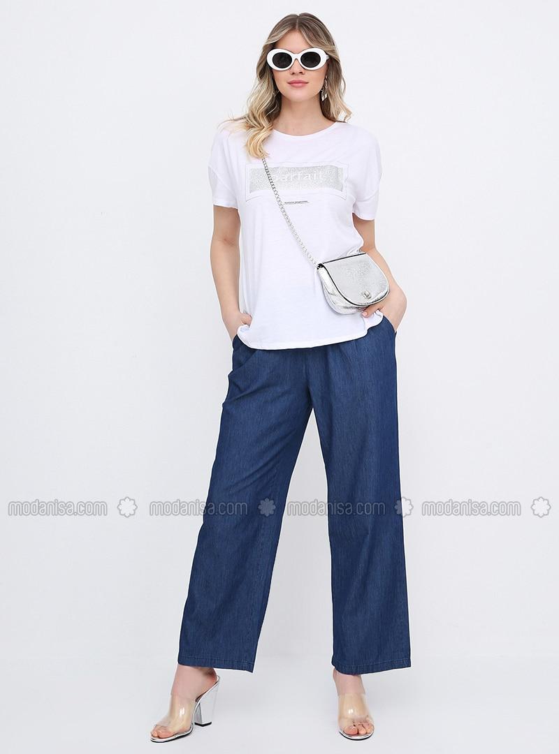 Blue - Cotton - Denim - Plus Size Pants