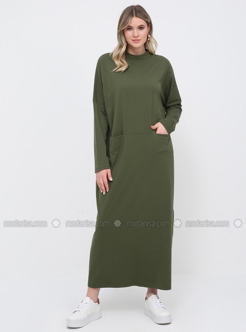 Khaki - Unlined - Polo neck - Cotton - Plus Size Dress