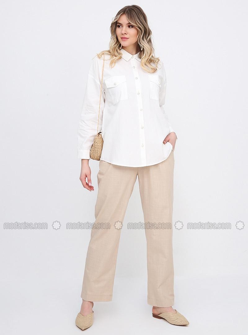 Camel - Cotton - Plus Size Pants