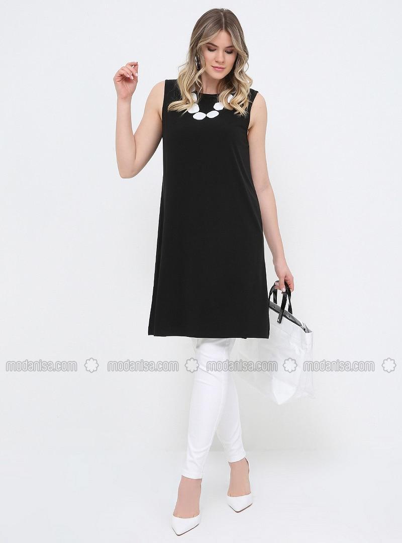 Black - Crew neck - Plus Size Tunic 933891a37