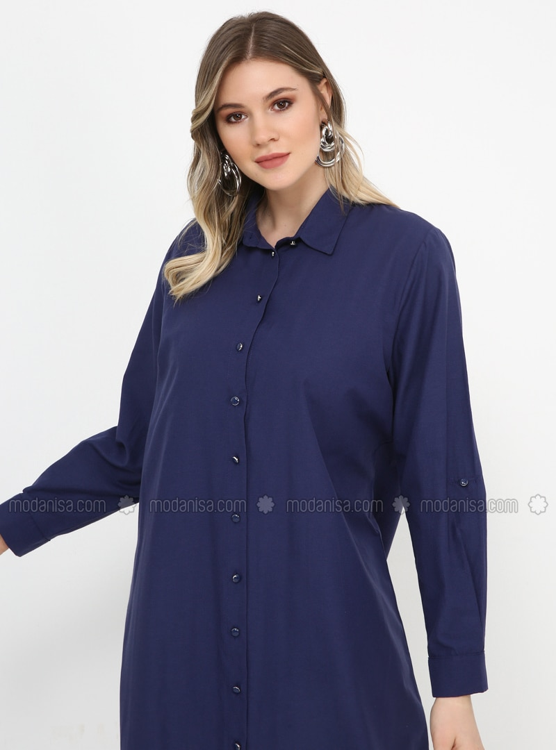 Navy Blue - Unlined - Point Collar - Cotton - Plus Size Dress