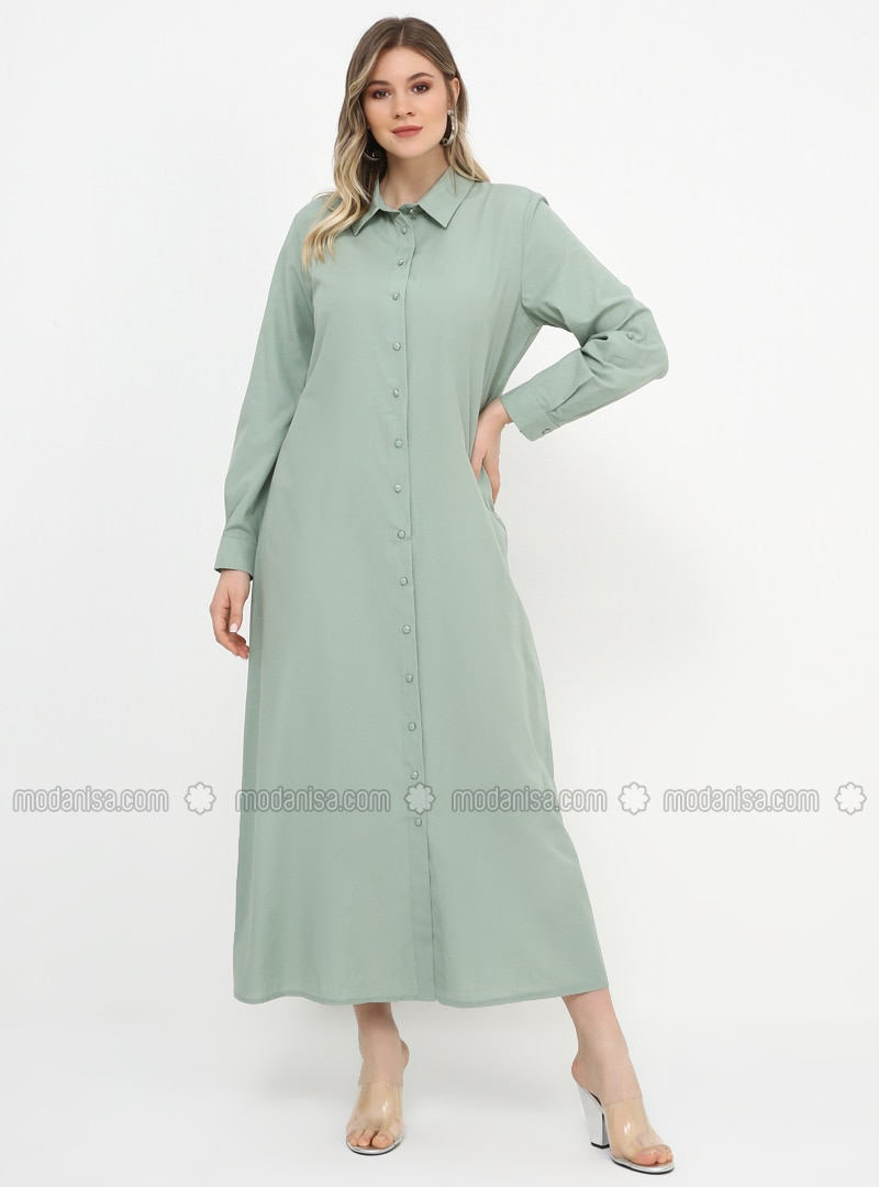 Green - Unlined - Point Collar - Cotton - Plus Size Dress
