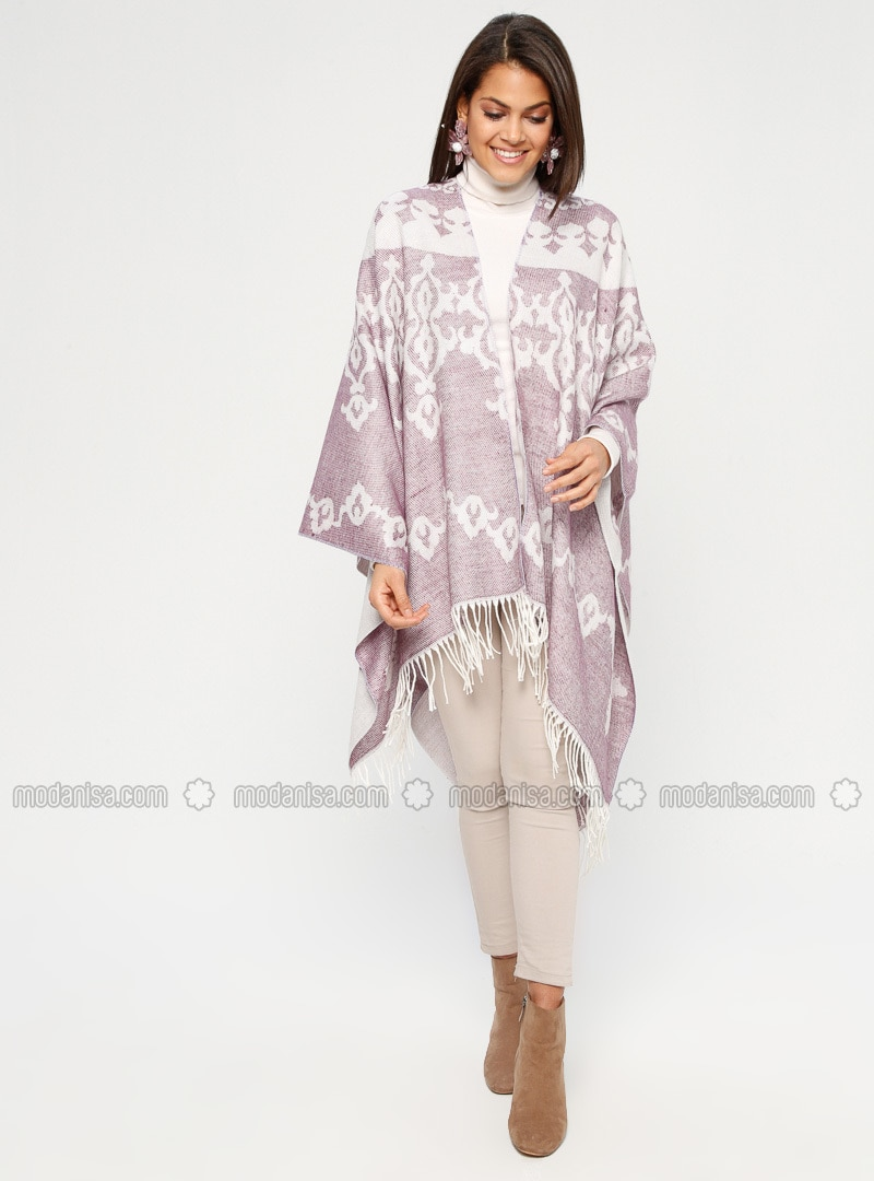 Plum - Multi - Unlined - Acrylic - Poncho