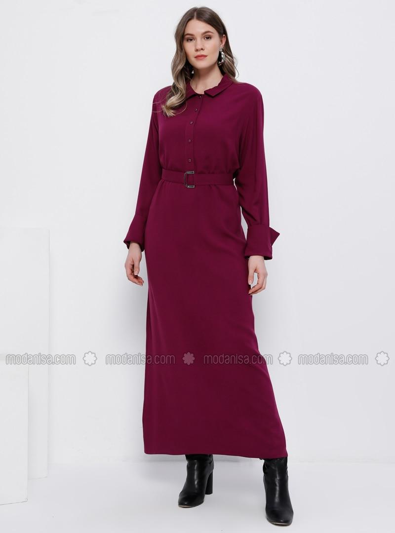 Purple - Unlined - Point Collar - Viscose - Plus Size Dress