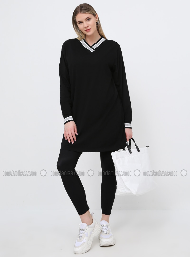 Black - V neck Collar - Cotton - Plus Size Tunic