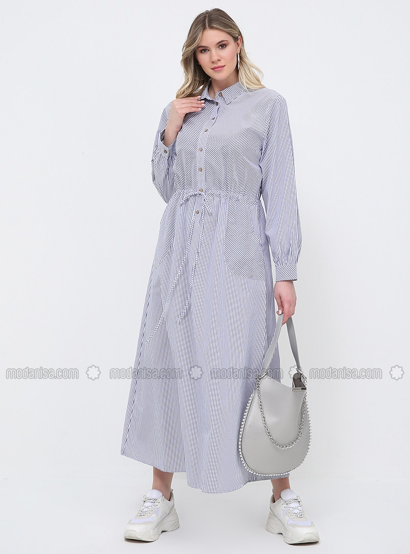 White - Navy Blue - Stripe - Unlined - Point Collar - Cotton - Plus Size  Dress