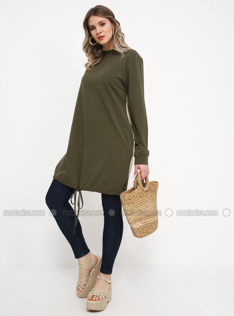 Khaki - Polo neck - Cotton - Plus Size Tunic