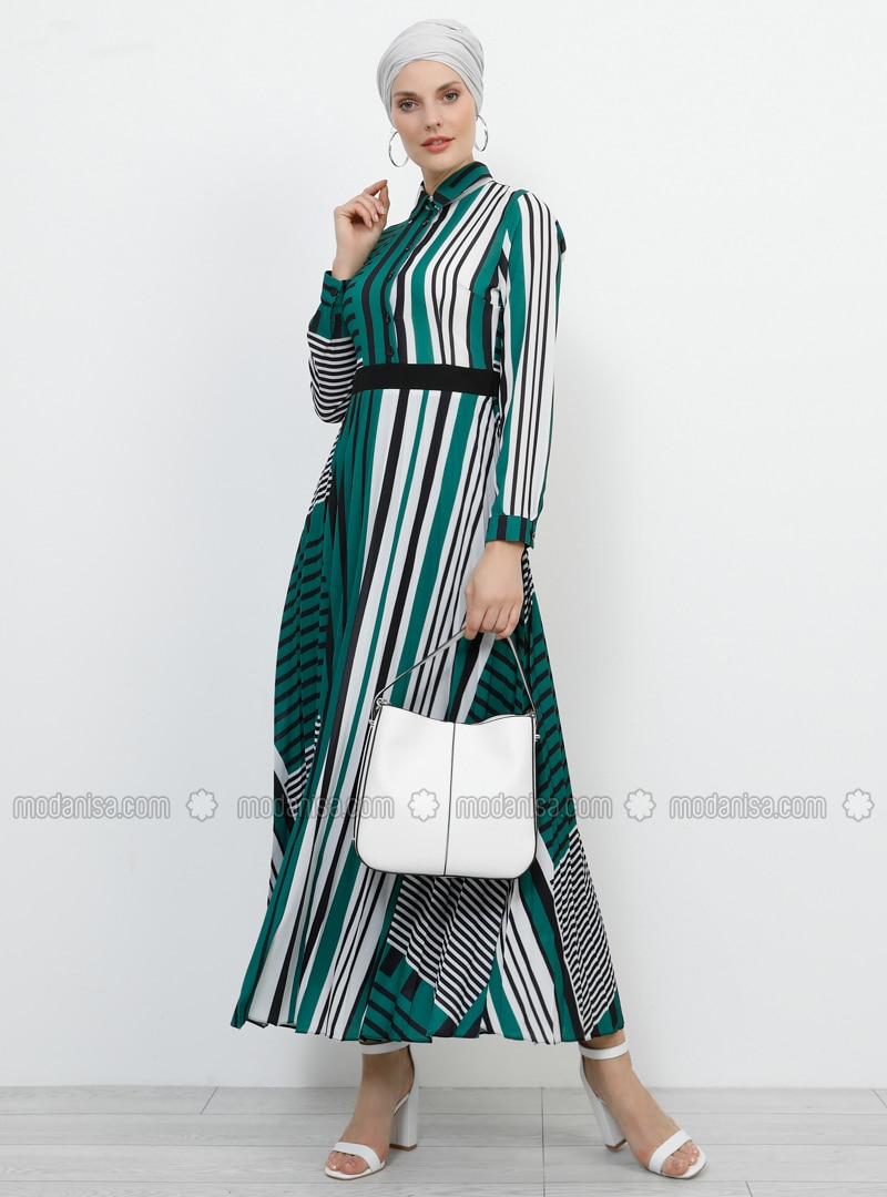 Green - Black - Stripe - Point Collar - Fully Lined - Dress