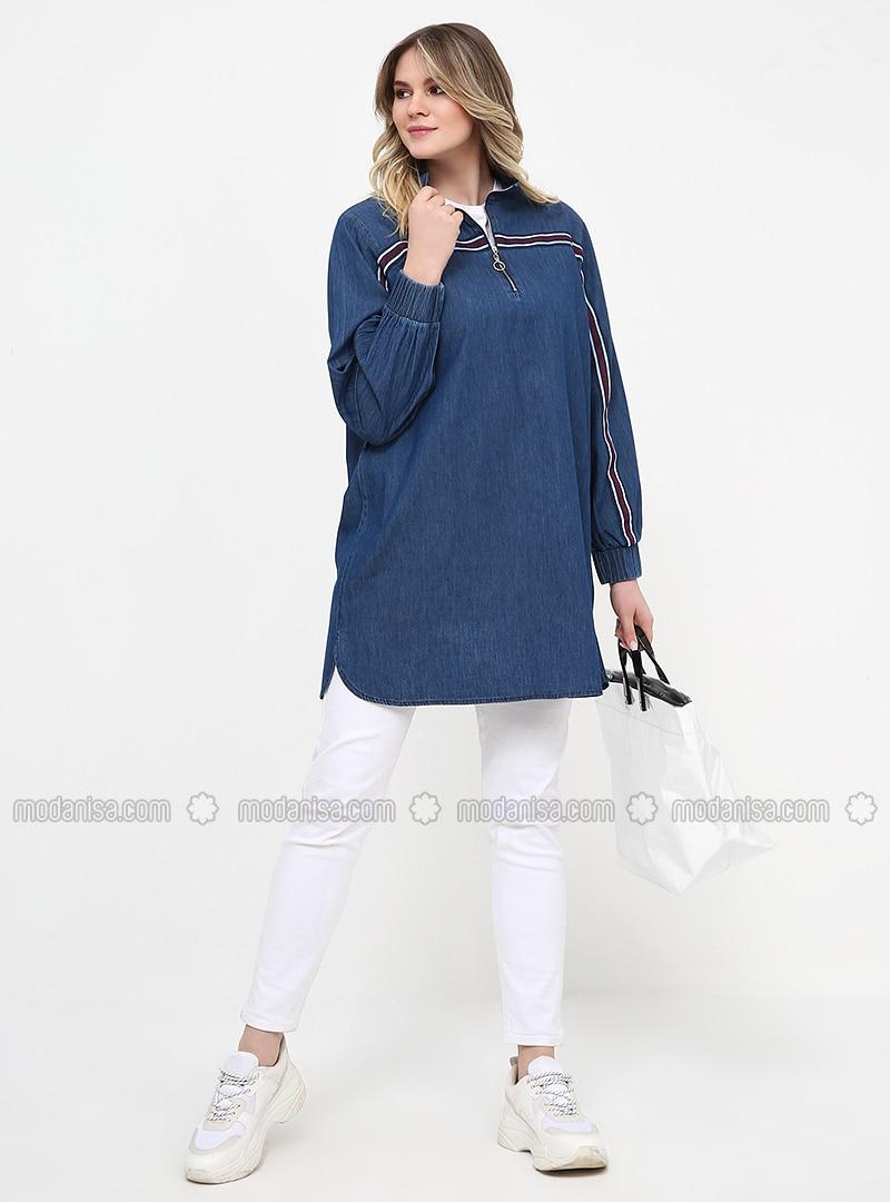 Blue - Polo neck - Cotton - Denim - Plus Size Tunic