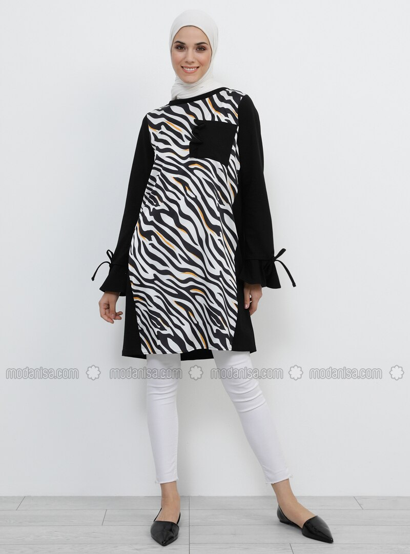 Black - Zebra - Crew neck - Cotton - Tunic