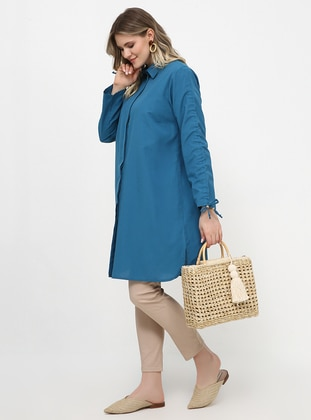 Petrol - Point Collar - Plus Size Tunic