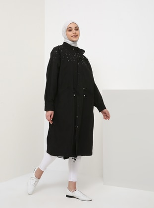 Black - Unlined - Polo neck - Cotton - Topcoat