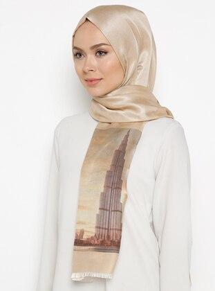 Beige - Printed - %100 Silk - Shawl
