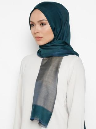 Petrol - Printed - %100 Silk - Shawl