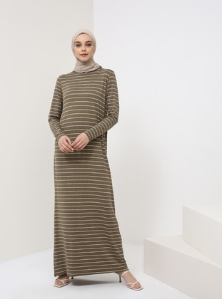 Khaki - Stripe - Crew neck - Unlined - Viscose - Dress