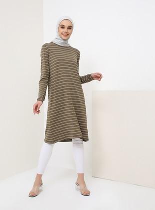 Khaki - Stripe - Crew neck - Viscose - Tunic