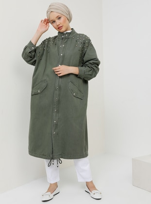 Khaki - Unlined - Button Collar - Cotton - Denim - Trench Coat
