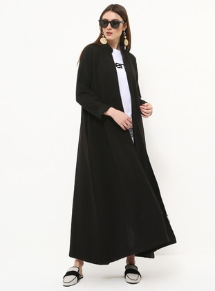 Black - Unlined - Crew neck - Cotton - Topcoat - Everyday Basic