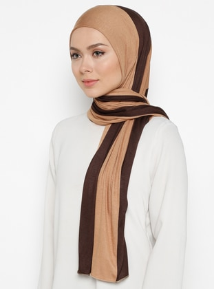 Brown - Camel - Striped - Combed Cotton - Shawl