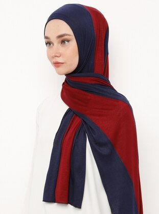 Navy Blue - Maroon - Striped - Combed Cotton - Shawl