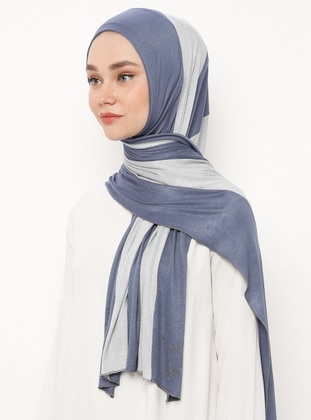 Blue - Gray - Striped - Combed Cotton - Shawl