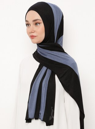 Blue - Black - Striped - Combed Cotton - Shawl