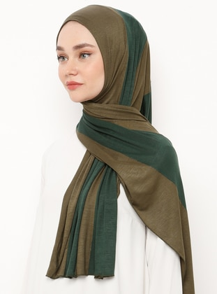 Green - Khaki - Striped - Combed Cotton - Shawl