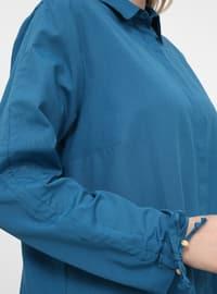 Petrol - Point Collar - Plus Size Tunic